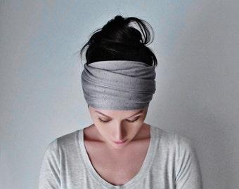 LUNA Yoga Headband - Silver Grey Jersey Head Scarf - Extra Wide Hair Wrap - EcoShag Headwrap - Hair Accessories - Womens Hair Accessory
