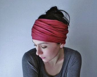 RHUBARB Yoga Headband - Raspberry Sorbet Jersey Hair Wrap - Workout Hair Accessory - Yoga Head Scarf - EcoShag Accessories