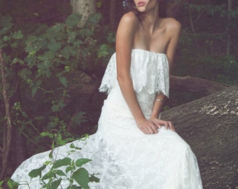 "Strapless Wedding Gown, Bohemian Wedding Dress, Lace Wedding Gown - ""Iver"""