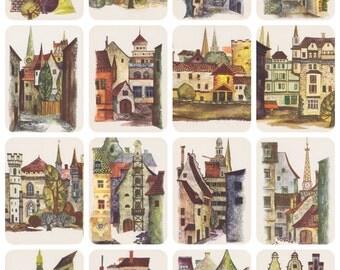 Riga, Latvia. Drawings by M. Vanin. Complete Set of 16 Vintage Postcards -- 1980s
