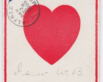 """Signed. Antique US Valentines Day Postcard """"I'm looking for a Sweet"""" -- mailed in 1905. Condition 7/10"""