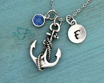 Anchor Necklace, Personalized Necklace, Silver Pewter Anchor Charm, Custom Necklace, Swarovski Crystal birthstone, monogram