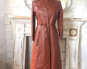 1970's Vintage Leather Trench