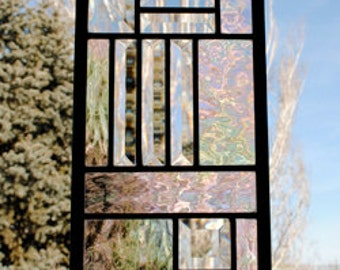 Stained Glass Window Beautiful Beveled Ready To Ship with Clear Irridized Waterglass Panel