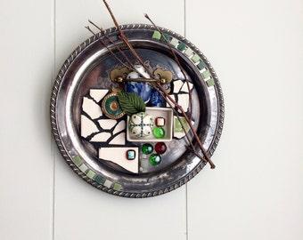 Assemblage Art, Mosaic Art, Silver Tray, Original Art
