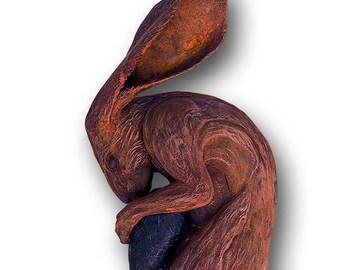 Hare Sculpture - Eternal  -  Rust Finish - Life Size Wall Mounted Artwork - Animal Art
