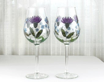 Wine Glasses with Thistles and Forget Me Knots, Wedding glasses, Painted Floral Design, Hand Painted Wine Glasses, Set of 2, Flower Glasses