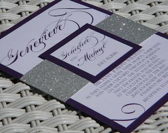 Silver Glitter and Eggplant Wedding Invitation Suite, Wedding Invitation, Silver Glitter Wedding, Bling Wedding, Bling Wedding Invitations