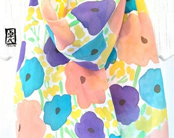 Silk Scarf Hand painted, ETSY Scarf, Silk Floral Scarf, Handmade Scarf, Peach Pink, turquoise, Yellow Wildflowers Scarf, 11x60 inches