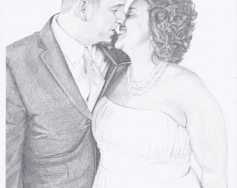 """Custom Portrait 8x10"""" - Drawing From Your Photo - Two Subjects - Custom Drawing - Wedding Gift"""