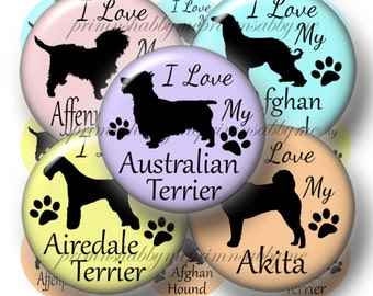 I Love My Dog, Bottle Cap Images, 1 Inch Circles, Digital Collage Sheet, Dogs, Breeds.,Akita, Afghan Hound, Digital Download, Round Image, A