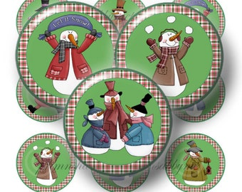 Snowman, Bottle Cap Images, 1 Inch Circles, Digital Collage Sheet, Printable, Instant Download, For Bows, Magnets, Crafts (Frosty Friends 1)