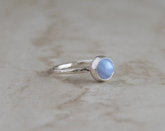 Blue lace agate ring- stacking ring- silver ring- blue gemstone ring