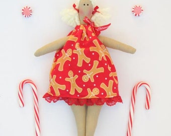 Rag doll Christmas doll softie plush fabric doll handmade cloth doll Tilda in red gingerbread dress textile doll unique Christmas gift idea