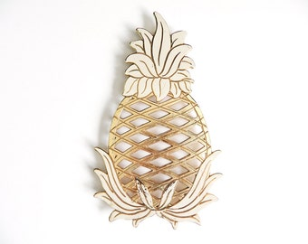 Vintage Enamel Pineapple Trivet, Tropical Kitchen Decor, Hollywood Regency Wall Hanging, Wm A Rogers