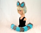 Cheshire Cat Ear Tail Clip On Combo in Blue Fleece and Gray Faux Fur