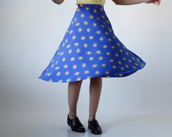 SOLD Indie Market - 80s Bright Blue Gold Pendant Print High Waisted Skirt Size 2 Small
