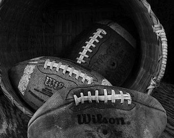 Black & White Football Photo, vintage Wilson footballs, boy's room decor, man cave decor, sports photography decor, study decor.