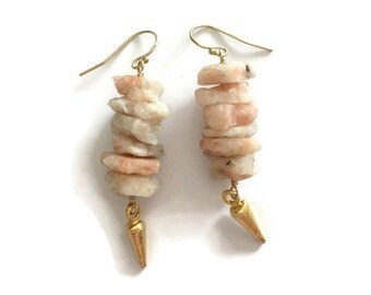 Raw Opal Earrings - Pink Jewelry - October Birthstone - Gold Jewelry - Gemstone - Spike