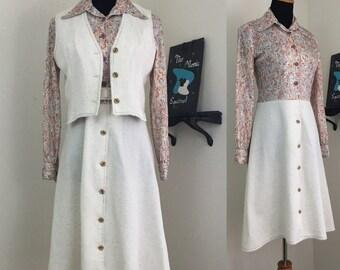 Autumn Blush // 1970s Dress and Vest Set