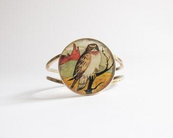 Owl Vintage Bracelet / Clamper Bracelet / Owl Bracelet / Cameo Bracelet / Gold Owl Bracelet / Vintage Cameo Bracelet