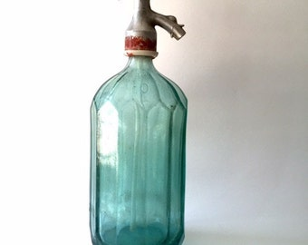 Vintage Pale Blue Cut Glass Seltzer Bottle