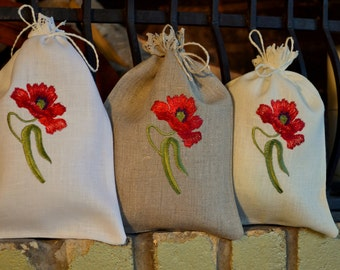White Gray Beige Natural Linen Gift Herb Present Wedding Bag With Poppy Embroidery