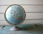 "1960s World Globe, Vintage 16"" Globe with Metal Base, Home Decor"