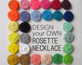 Rosette Statement Necklace, Rosette Necklace, Rosette Bib Necklace,Rosettes,Fabric Jewelry, Fabric Necklace, Custom Jewelry,Bridal Jewelry