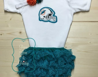 Miami Dolphins Baby Bodysuit, Lace Ruffle Diaper Cover and Headband Set Made from Miami Dolphins Fabric, Baby Dolphins Outfit, Dolphins Baby