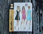 McCall 2393 1970s 70s Asymmetrical  Mini Mod Wrap Dress  Vintage Sewing Pattern Size 12 Bust 34