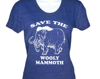 Womens Save The Wooly Mammoth T Shirt - Funny Elephant T-Shirt - Gifts For Her - Birthday Gift - Girls Tee Girlfriend Wife Camping Tshirt