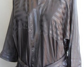 Vintage Robe Christian Dior Monsieur Robe Satin Gray Stripe Men's