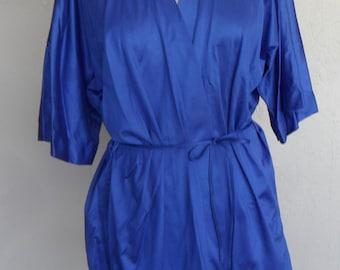 Vintage Robe Blue Lady Cameo Dallas Silky Nylon