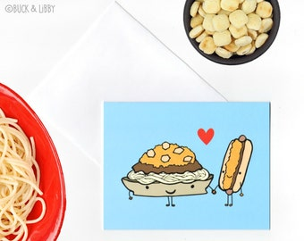 Cincinnati 3 Way Chili and Cheese Coney Greeting Card with Envelope Blank inside