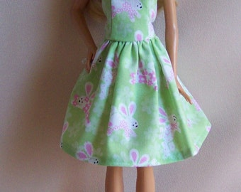 Handmade Barbie Clothes- Green with Rabbits Easter Print Barbie Dress