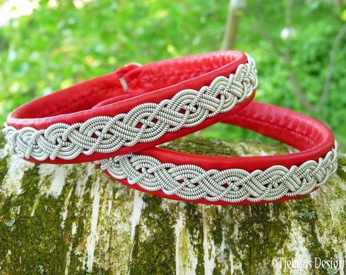 Viking Sami Bracelet MIDGARD Red Leather Wristband Cuff - Lapland Reindeer Bracelet with Pewter Braids - Custom  Handmade Norse Folklore
