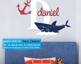 Shark Wall Decals, Anchor Wall Decal, Boys Name Decals, Sea Life Decals, Part 55