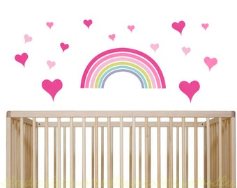 Rainbow Wall Decal in Reusable Fabric Sticker, Rainbow Nursery Decal, Girls Wall Decals, Cloud Stickers, Playroom Decal, Girls Rainbow Art