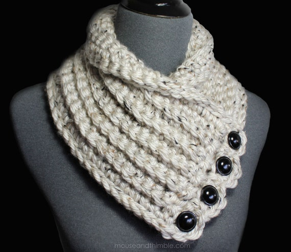 Bulky Tweed Button Cowl Quick Amp Easy Crochet Pattern Pdf