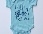"""Blue Baby Onesie-""""Life's A Ride""""-Baby Boy Bicycle onesie-Baby gift for cyclists"""
