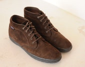 Vintage Keds Brown Suede Leather Ankle Boots, Womens 9