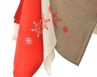 Pure Linen Kitchen Towel with Handmade Snowflakes Embroidery/ Linen Dish Towel