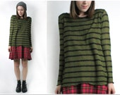 Oversized  Grunge Olive and Black Stripe Sweater 90s inspired One Size Made to Order
