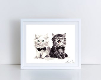 Black and White Kittens Cat Bow Tie Cat Art Print Cat Painting Cat Wall Decor Cat Watercolor Art Kitten Art Kitten Painting Cute Art Print