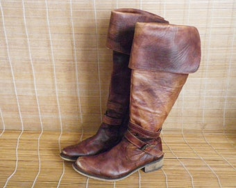 Vintage Lady's Brown Leather Zip Up Riding Boots Size EUR 37 US Woman 6 1/2 Buffalo London