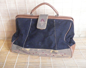 Vintage Lady's Brown Faux Leather And Black Canvas Hand Bag Doctors Bag On A Frame