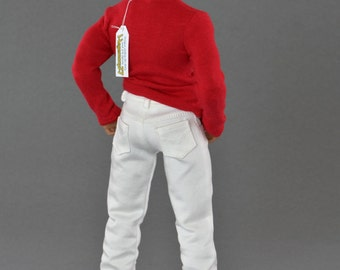 1/6th scale XXL white jeans pants / trousers for: bigger / larger sixth scale figures and male dolls