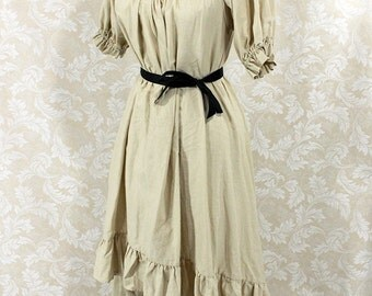"""Steampunk Ragamuffin Dress with Short Sleeves in Khaki Cotton -- Size Medium, Fits Bust 36""""-40"""" -- Ready to Ship"""