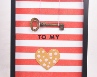 Key to My Heart Shadowbox Red and Gold